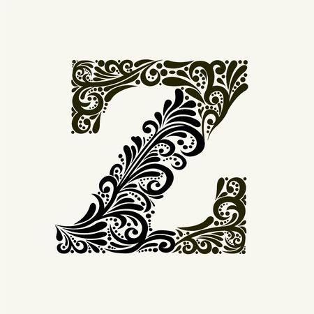 Elegant capital letter Z in the style of the Baroque.
