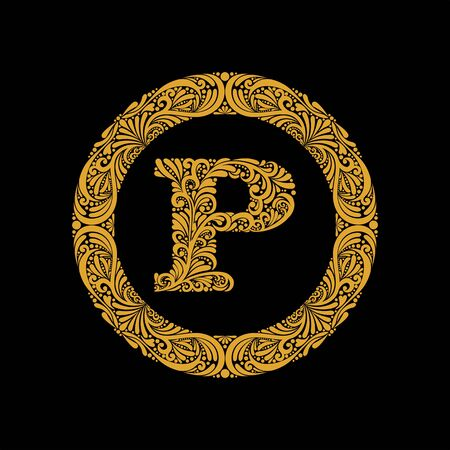 Premium, elegant capital letter P in a round frame is made of floral ornament. Baroque style.Monogram, emblem trendy design.