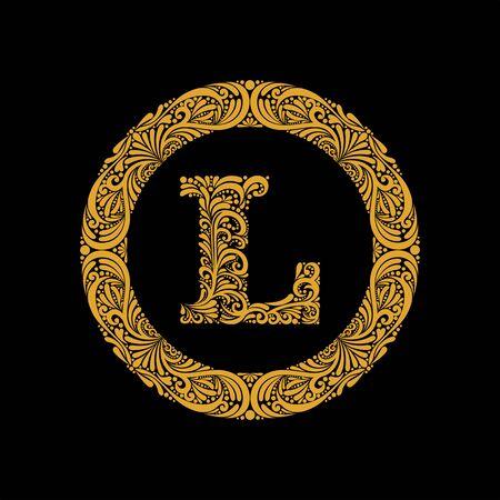 Premium, elegant capital letter L in a round frame is made of floral ornament. Baroque style.Monogram, emblem trendy design.
