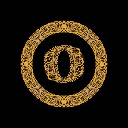 Premium, elegant capital letter O in a round frame is made of floral ornament. Baroque style.Monogram, emblem trendy design.