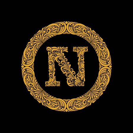 Premium, elegant capital letter N in a round frame is made of floral ornament. Baroque style.Elegant capital letters set 1 in the style of the Baroque