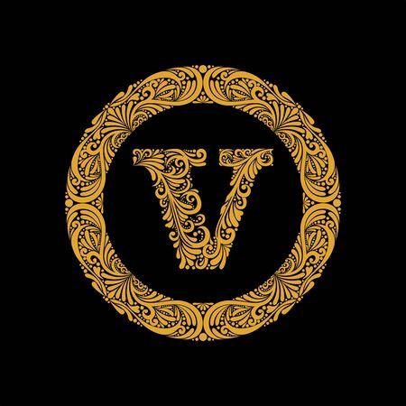 La lettre majuscule V de qualité supérieure et élégante dans un cadre rond est composée d'un ornement floral. Style baroque. Monogramme, design tendance emblème.