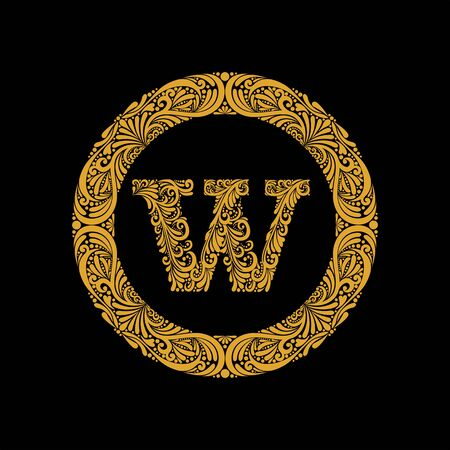 Premium, elegant capital letter W in a round frame is made of floral ornament. Baroque style.Monogram, emblem trendy design.