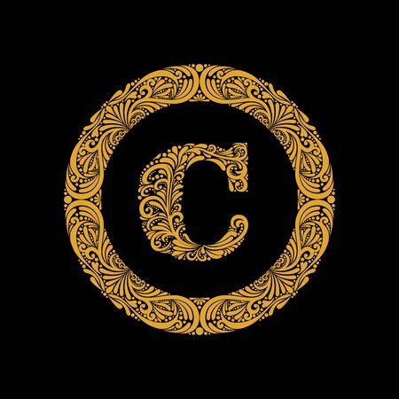 La lettre majuscule C de qualité supérieure dans un cadre rond est composée d'un ornement floral. Style baroque. Monogramme, design tendance emblème.