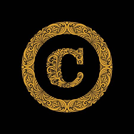 Premium, elegant capital letter C in a round frame is made of floral ornament. Baroque style.Monogram, emblem trendy design.