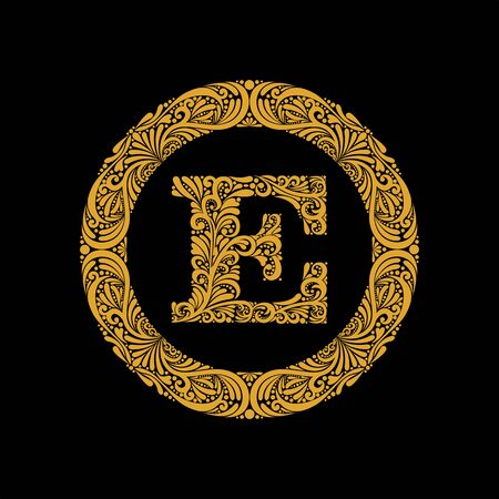 Premium, elegant capital letter E in a round frame is made of floral ornament. Baroque style.Monogram, emblem trendy design. Vecteurs