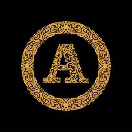 Premium, elegant capital letter A in a round frame is made of floral ornament. Baroque style.Monogram, emblem trendy design. Illustration
