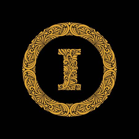 Premium, elegant capital letter I in a round frame is made of floral ornament. Baroque style.Monogram, emblem trendy design. Illustration