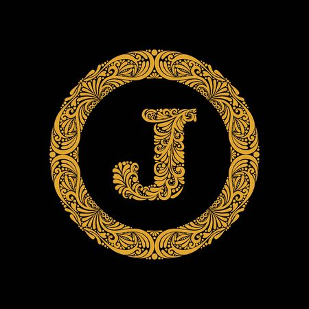 Premium, elegant capital letter J in a round frame is made of floral ornament. Baroque style.Monogram, emblem trendy design.