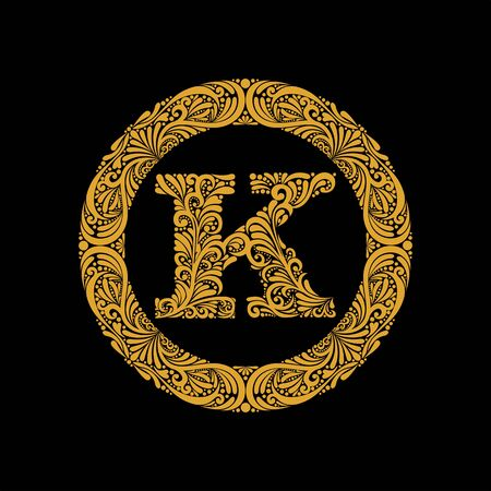 Premium, elegant capital letter K in a round frame is made of floral ornament. Baroque style.Monogram, emblem trendy design. Illustration