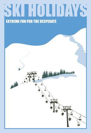 Fond d'hiver. Paysage de montagne avec remontée mécanique