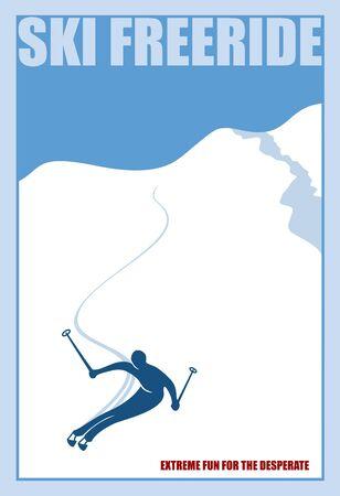 Minimalist winter poster. Ski freeride. Vector illustration