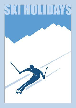 Minimalist winter poster. Advanced skier slides down the mountain. Ilustrace