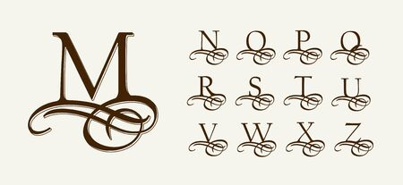 Vintage Set 2. Calligraphic capital letters with curls for Monograms. Beautiful Filigree Font With elements of Arabic calligraphy