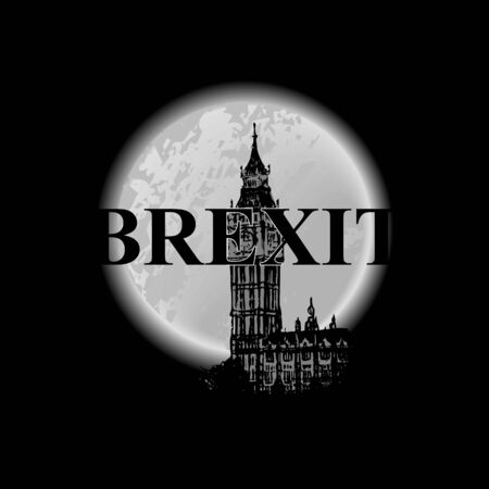 Brexit poster. UK leaving EU. Crisis in relations between the United Kingdom and the European Union. The ominous inscription Brexit against the background of the night sky,