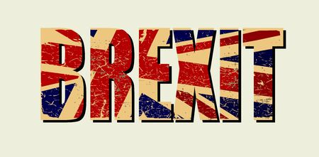 Brexit poster. UK leaving EU. Crisis in relations between the United Kingdom and the European Union. Vote for new deal. Brexit without deal. Great Britain grunge flag. Vector illustration Çizim