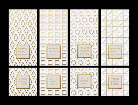 Set Template for package or flyer from Luxury background made by White geometric shapes with gold accents for cosmetic or perfume or for package of tea or for alcohol label or for advertising jewelry