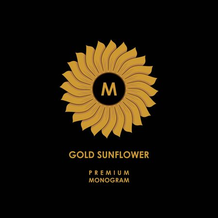 Golden sunflower. Template for creating logo, emblem, monogram. Vector. Illusztráció