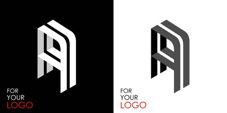 Isometric letter A. From stripes, lines. Template for creating logos, emblems, monograms. Black and white options. 3D art symbol. Vector