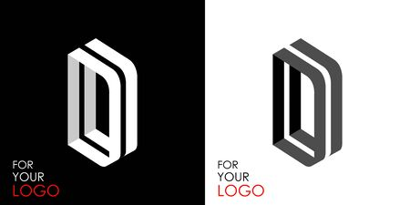 Isometric letter D. From stripes, lines. Template for creating logos, emblems, monograms. Black and white options. 3D art symbol. Vector Illusztráció
