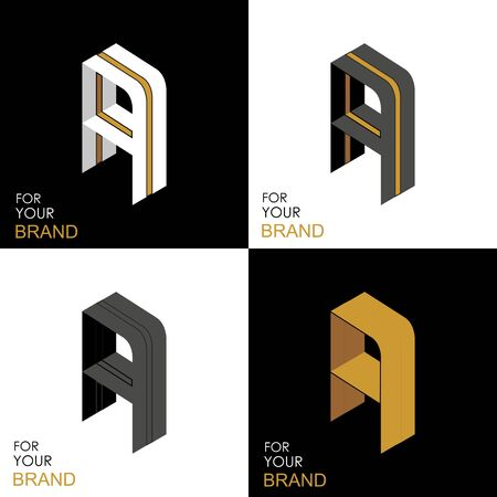 Isometric set letter A. Black, white, gold palette. From stripes, lines. Template for creating logos, emblems, monograms. Black and white options. 3D art symbol. Vector Illusztráció