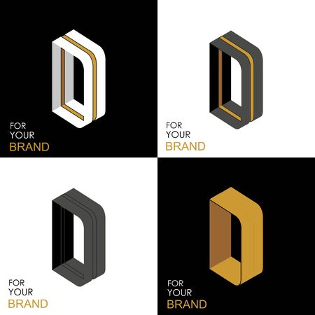 Isometric set letter D. Black, white, gold palette. From stripes, lines. Template for creating logos, emblems, monograms. Black and white options. 3D art symbol. Vector