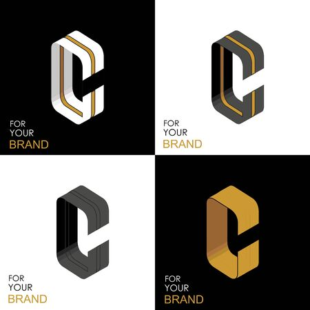Isometric set letter C. Black, white, gold palette. From stripes, lines. Template for creating logos, emblems, monograms. Black and white options. 3D art symbol. Vector
