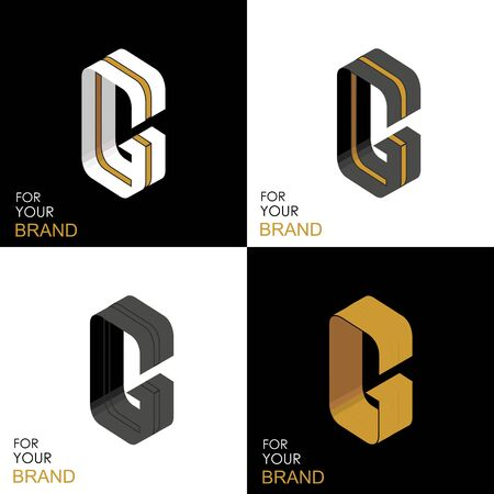 Isometric set letter G. Black, white, gold palette. From stripes, lines. Template for creating logos, emblems, monograms. Black and white options. 3D art symbol. Vector Illusztráció
