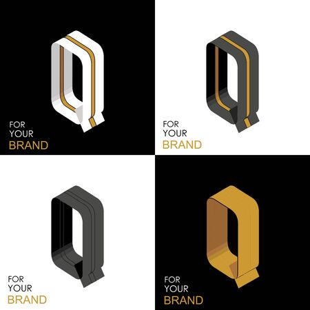 Isometric set letter Q. Black, white, gold palette. From stripes, lines. Template for creating logos, emblems, monograms. Black and white options. 3D art symbol. Vector Illusztráció