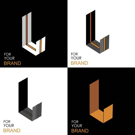 Isometric set letter L. Black, white, gold palette. From stripes, lines. Template for creating logos, emblems, monograms. Black and white options. 3D art symbol. Vector