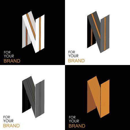 Isometric set letter N. Black, white, gold palette. From stripes, lines. Template for creating logos, emblems, monograms. Black and white options. 3D art symbol. Vector