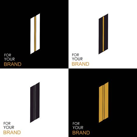 Isometric set letter I. Black, white, gold palette. From stripes, lines. Template for creating logos, emblems, monograms. Black and white options. 3D art symbol. Vector