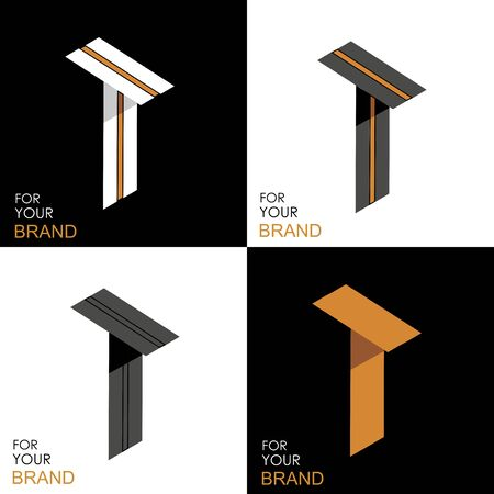 Isometric set letter T. Black, white, gold palette. From stripes, lines. Template for creating logos, emblems, monograms. Black and white options. 3D art symbol. Vector Illusztráció
