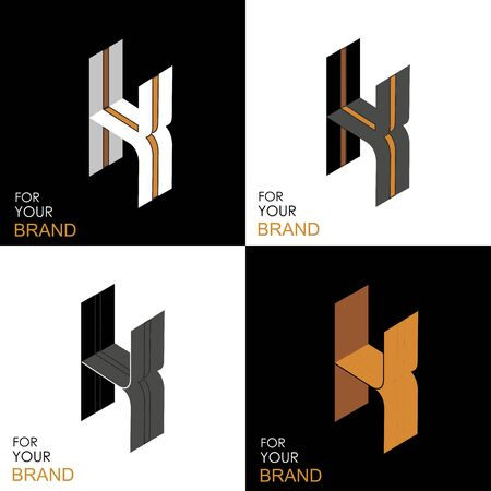 Isometric set letter K. Black, white, gold palette. From stripes, lines. Template for creating logos, emblems, monograms. Black and white options. 3D art symbol. Vector