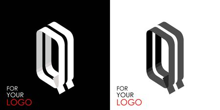 Isometric letter Q. From stripes, lines. Template for creating logos, emblems, monograms. Black and white options. 3D art symbol. Vector