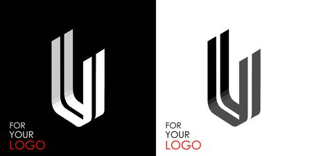 Isometric letter U. From stripes, lines. Template for creating logos, emblems, monograms. Black and white options. 3D art symbol. Vector Illusztráció