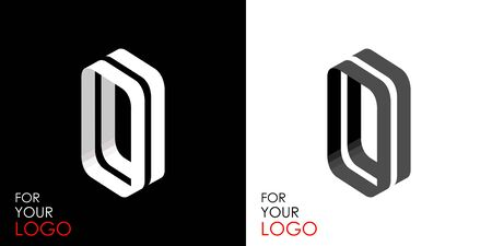 Isometric letter O. From stripes, lines. Template for creating logos, emblems, monograms. Black and white options. 3D art symbol. Vector