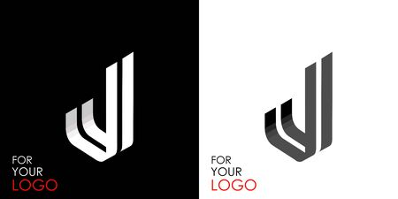 Isometric letter J. From stripes, lines. Template for creating logos, emblems, monograms. Black and white options. 3D art symbol. Vector