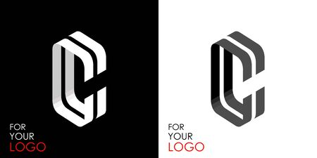 Isometric letter C. From stripes, lines. Template for creating logos, emblems, monograms. Black and white options. 3D art symbol. Vector