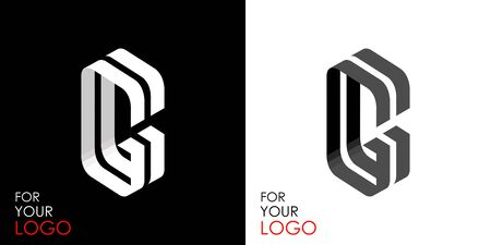 Isometric letter G. From stripes, lines. Template for creating logos, emblems, monograms. Black and white options. 3D art symbol. Vector