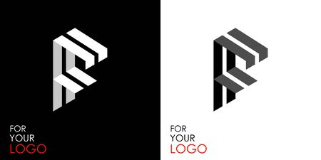 Isometric letter F. From stripes, lines. Template for creating logos, emblems, monograms. Black and white options. 3D art symbol. Vector