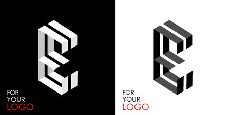 Isometric letter E. From stripes, lines. Template for creating logos, emblems, monograms. Black and white options. 3D art symbol. Vector