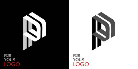 Isometric letter P. From stripes, lines. Template for creating logos, emblems, monograms. Black and white options. 3D art symbol. Vector