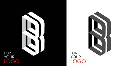 Isometric letter B. From stripes, lines. Template for creating logos, emblems, monograms. Black and white options. 3D art symbol. Vector Illusztráció