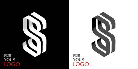 Isometric letter S. From stripes, lines. Template for creating logos, emblems, monograms. Black and white options. 3D art symbol. Vector Illusztráció