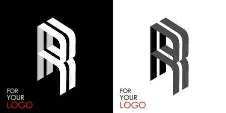 Isometric letter R. From stripes, lines. Template for creating logos, emblems, monograms. Black and white options. 3D art symbol. Vector Illusztráció
