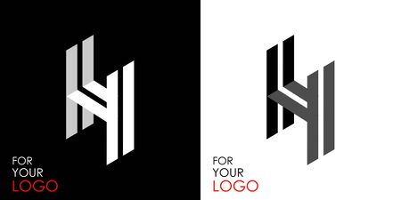 Isometric letter H. From stripes, lines. Template for creating logos, emblems, monograms. Black and white options. 3D art symbol. Vector