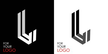Isometric letter L. From stripes, lines. Template for creating logos, emblems, monograms. Black and white options. 3D art symbol. Vector