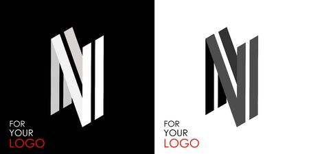 Isometric letter N. From stripes, lines. Template for creating logos, emblems, monograms. Black and white options. 3D art symbol. Vector