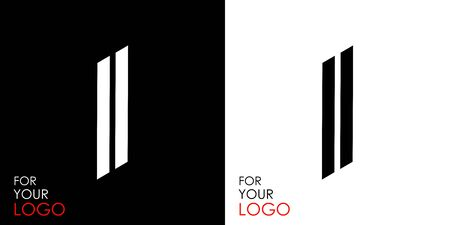 Isometric letter I. From stripes, lines. Template for creating logos, emblems, monograms. Black and white options. 3D art symbol. Vector